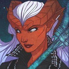 Mary E. McGlynn's #CriticalRole character, Zahra the tiefling warlock! (art by Kit Buss)
