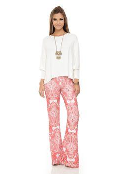 Calça Flare Estampa Cashmere Vermelho - roupas-calcas-calca-flare-estampa-cashmere-vermelho Iorane