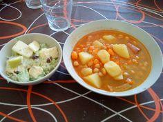 Apple salad and cheakpeas stew