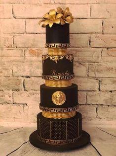Versace - cake by Ksyusha Black Wedding Cakes, Beautiful Wedding Cakes, Gorgeous Cakes, Pretty Cakes, Amazing Cakes, Bolo Chanel, Chanel Cake, Cupcakes Decorados, Gateaux Cake