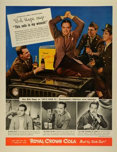 This is an original 1943 color print ad for the Royal Crown Cola from Nehi Corporation. This ad features an image of Bob Hope, a famous Broadway comedian and actor. CONDITION This 68+ year old Item is