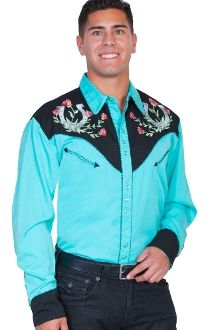 """This """"Winners Circle"""" Mens Turquoise Western shirt by Scully is a western favorite with the beautiful vintage smiley pockets and retro floral embroidered yoke complete with pearl snaps a great western cowboy shirt for men. Vintage Western Wear, Vintage Men, Vintage Shirts, Vintage Style, Western Outfits, Western Shirts, Grinch, Leather Company"""