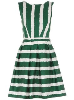 Green Striped Dress via Dorothy Perkins. With a nice white jacket and wedges!