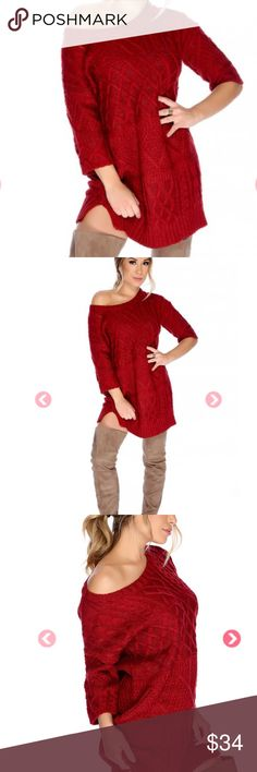 🆕SEXY WINE SWEATER DRESS🆕 Sexy Wine Roundneck Crochet Knit Sweater Dress STYLE-Trendy & Stylish FEATURES-Crochet Knit detailing, 1/4 sleeves, side slits at hemline, round neckline SIZE-Small fits size 1/2 or 3/4 FIT-A Trendy loose wear mini dress fit MEASUREMENTS-Chest 32-33 in.                                   Waist 25-26 in.                                   Hips 34-35 in.       This Stylish Sweater Dress is a perfect winter color with thick crocheted knitting and detailing. Very…
