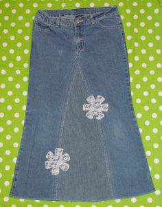Girls/Junior  Long Jean Denim Skirt    size 14 by EastCoastSkirts, $15.00