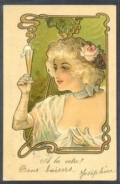 """PD119 ART NOUVEAU """"A LA VOTRE"""" BEAUTIFUL LADY CHAMPAGNE Fine LITHO 1900"""
