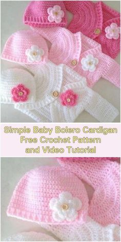 , Simple Baby Bolero Cardigan - Free Pattern and Video Tutorial. , Simple Baby Bolero Cardigan – Free Pattern and Video Tutorials Cardigan Au Crochet, Cardigan Bebe, Crochet Baby Sweaters, Crochet Baby Clothes, Crochet Jacket, Crochet Baby Cardigan Free Pattern, Booties Crochet, Crochet Baby Shrug, Crocheted Baby Hats