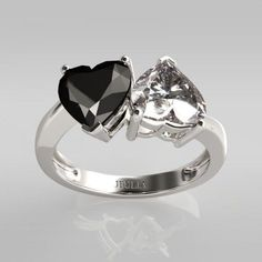 Jeulia Two Stone Black and White Heart Cut Promise Ring