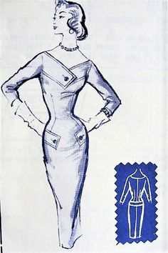 50s BOMBSHELL Slim Dress Pattern MODES ROYALE 124 Daytime or After 5 Figure Show Off Dress Bust 32 Vintage Sewing Pattern Factory Folded