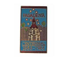 "PASADENA CA vintage enamel pin lapel badge California 1886 1986 centennial by VintageTrafficUSA  14.00 USD  A vintage Pasadena enamel pin! Excellent condition. Measures: approx 1"" 20 years old hard to find vintage high-quality cloisonne lapel/pin. Beautiful die struck metal pin with colored glass enamel filling. Have some individuality = some flair! Add inspiration to your handbag tie jacket backpack hat or wall. -------------------------------------------- SECOND ITEM SHIPS FREE IN USA…"