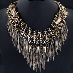 Punk Style Alloy Rivet Chains Necklace For Women  $45.00    Item Type: Pendant Necklace  Gender: For Women  Style: Trendy  Shape/Pattern: Others  Weight: 0.218kg  Package Contents: 1 x Necklace