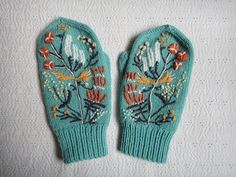 botanical embroidery on a cute pair of mittens