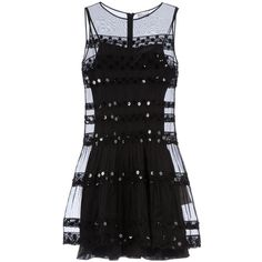 RED VALENTINO sheer lace dress ($687) ❤ liked on Polyvore featuring dresses, vestidos, black, valentino, see through dress, short floral dresses, short sequin cocktail dresses, sheer dress and sleeveless cocktail dress