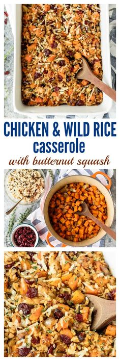 Cheesy Chicken and Wild Rice Casserole made from scratch with butternut squash and cranberries. An easy and healthy chicken dinner recipe that's gluten free and perfect for freezer meals too!