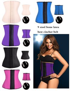 d6a8f18137 tummy shaper 9 steel bone latex corset thong shapewear for women