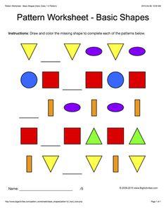 pattern worksheets for kids colored basic shapes 1 2 pattern draw and - Color Pattern Worksheets