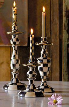 Black, White & Gold Checkerboard Candlesticks by MacKenzie-Childs