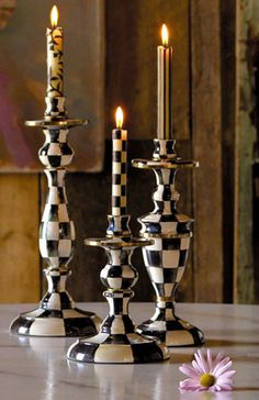 Black, White & Gold Checkerboard Candlesticks