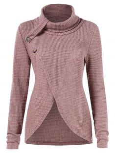 0429186ad34 Asymmetrical Turtleneck Sweater - PINK XL Cute Clothes For Women