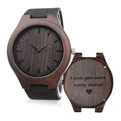 """I Love You More Every Second"" Love Quote Engraved Wooden Watch (Romantic gifts for men) Meaningful Gifts For Boyfriend, Personalised Gifts For Husband, Christmas Gifts For Boyfriend, Gifts For Your Boyfriend, Best Christmas Gifts, Boyfriend Ideas, Christmas Birthday, Best Gifts For Him, Unique Gifts For Men"