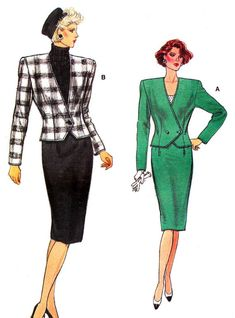 1980s Vogue 9658 Womens Two Piece Dress Power Suit by paneenjerez, $10.00