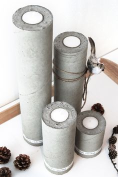 Concrete candle sticks using plastic pipes as molds