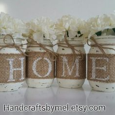 Rustic Home Decor/Burlap Mason Jars/Mason Jar Decor/Rustic Wedding Decor/Vintage Decor/ Centerpieces/Farmhouse Decor/Distressed Mason Jars/Country Decor This listing is for a set of 4 rustic burlap mason jars spelling out Burlap Mason Jars, Distressed Mason Jars, Painted Mason Jars, Chalk Paint Mason Jars, Distressed Decor, Diy Home Decor Rustic, Diy Home Decor Projects, Vintage Home Decor, Country Decor