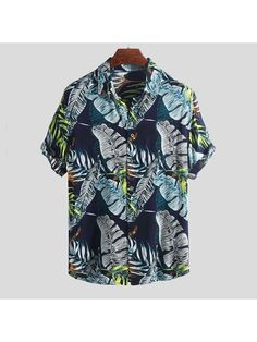 Shirts for Men Multicolor Lump Polo Blouse Short Sleeve Tops Casual Business Hawaiian Henley Shirt