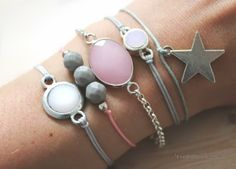 Armbandjes Grijs-Roze