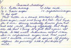 Handwritten Caramel Frosting Recipe Card