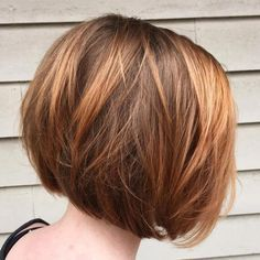 Chocolate And Caramel Layered Bob wispy layers