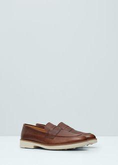 Leather moccasin | MANGO MAN