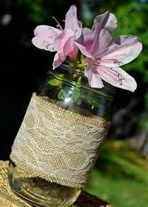Image detail for -Lace Mason Jar Candle Holder - Vase - Wedding Centerpiece - Burlap ...
