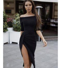 cbe738a3c9b Details about AU Women s Off Shoulder Dress Bodycon Evening Party Cocktail  Long Split Dresses
