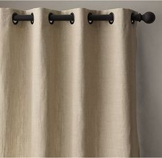 Way too expensive - $220+ In white. French Pleat or this? RH's Belgian Textured Linen Drapery:Woven from the world's finest Belgian flax by Libeco-Lagae, the oldest and most venerable mill in Belgium, our linen is unsurpassed for its soft hand, rich color, natural texture and superb longevity.