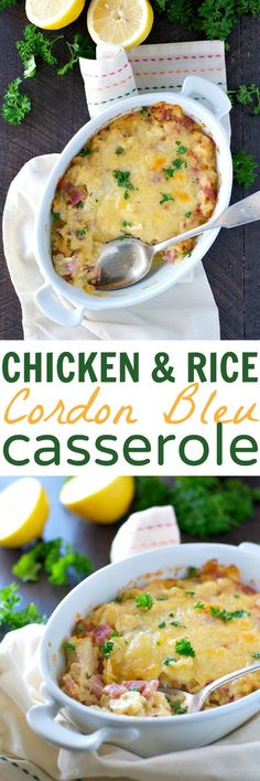 You're going to love how easy this dump-and-bake Chicken and Rice Cordon Bleu Casserole comes together! It's the perfect leftover ham recipe, and a great way to use up some rotisserie chicken. Topped with grated Swiss cheese, this creamy 10-minute meal is a quick comfort food dinner that the whole family will devour!