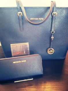 New Michael Kors Jet Set Travel Tote in navy, $278, new at Continuum!