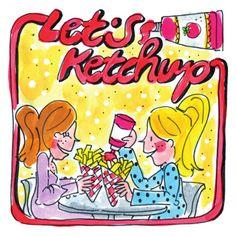 Twee vriendinnen eten patat met ketchup- Greetz
