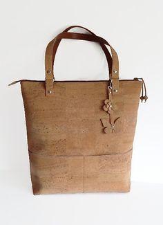 Eco Friendly Cork Bag Cork Tote Bag with Zipper by MyCottonHouse