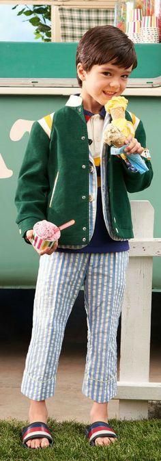 054951c7711854 GUCCI Boys Green Bomber Jacket Blue White Seersucker Suit Jacket   Pants  for Spring Summer 2018