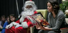 Today, The First Lady, Michelle Obama with first dogs BO and Sunny Obama, brought Christmas cheer to the little patients at the Children's N...