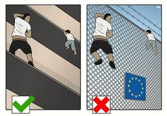 An undocumented immigrant saved a child dangling from a Paris balcony and inspired this cartoon. Who is the good immigrant and who is bad immigrant?