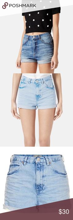 """Topshop • Rosa high waisted pocket detail shorts Topshop """"Rosa"""" high waisted denim shorts with pocket detail. Mildly distressed. Tag says size 26 but they run small and fit a size 24. Waist 13"""", rise 10"""", hips 18"""", inseam 1"""". Topshop Shorts Jean Shorts"""