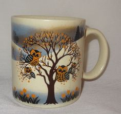 Vintage-Owl-Mug-11oz-Cup-Coffee-Spring-Tulips-Tree-Otagiri-Japan-Redware-Pottery
