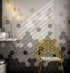 Hex tiles, mosaic formation, multi colour, tonal, yellow mesh chair