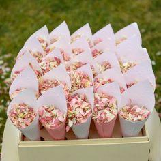 Shropshire Petals vintage confetti cones with pretty pink petals http://www.shropshirepetals.com/shop/1_Natural_Petal_Confetti?packagingid=64#.VXghfPlVhBc