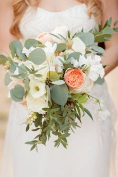 Blush Bridal Bouquet // An Elegant Blush & Peach Whimsical Texas Wedding via TheELD.com