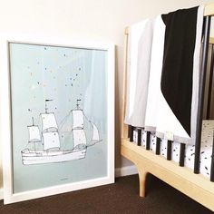 Sailing away with this wonderful print by  @paxandhart in @littlepopstudios sweet baby boys room  Shop the Pax & Hart range of prints bow at alfiewild.com