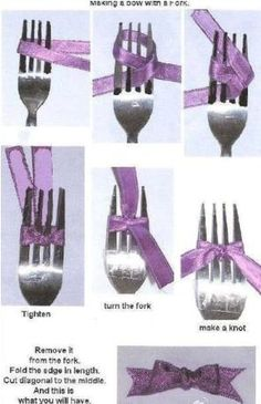 How to Make a Bow With a Fork. From ilikebigbows.blogspot.com and pcPolyzine.com.