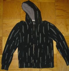 Paul Frank Knives All Over French Terry Zippered Hoodie Jacket Size Small  #PaulFrank #TerryJacket